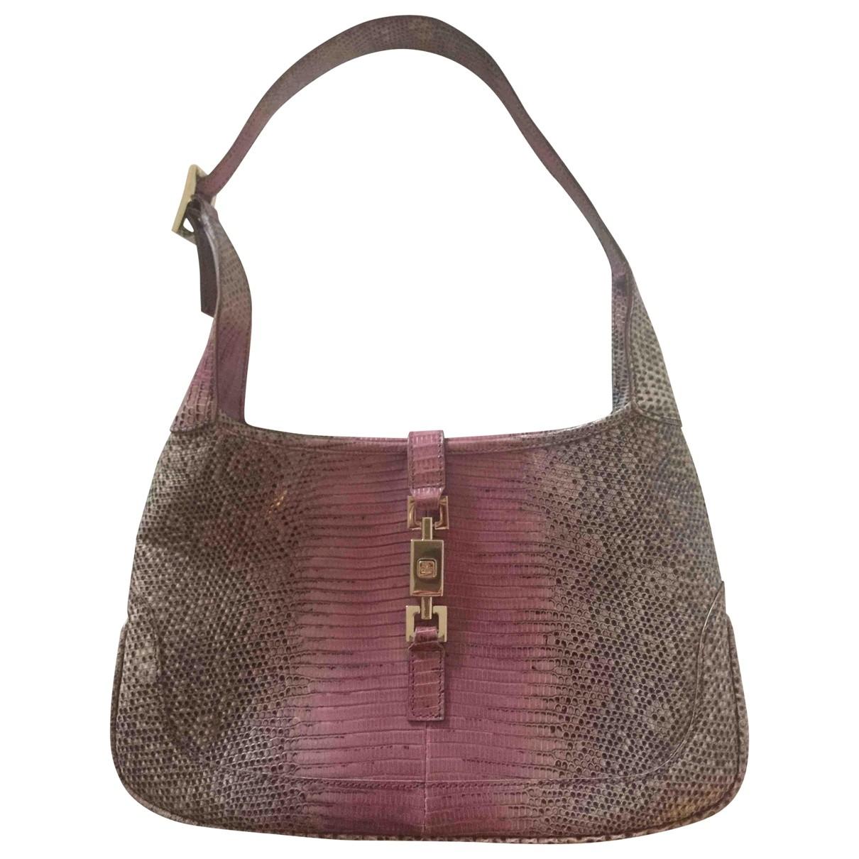 Gucci Jackie Vintage  Handtasche in  Rosa Echse