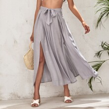 Slit Thigh Belted Solid Skirt