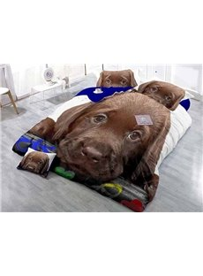 Lying Brown Dog Wear-resistant Breathable High Quality 60s Cotton 4-Piece 3D Bedding Sets