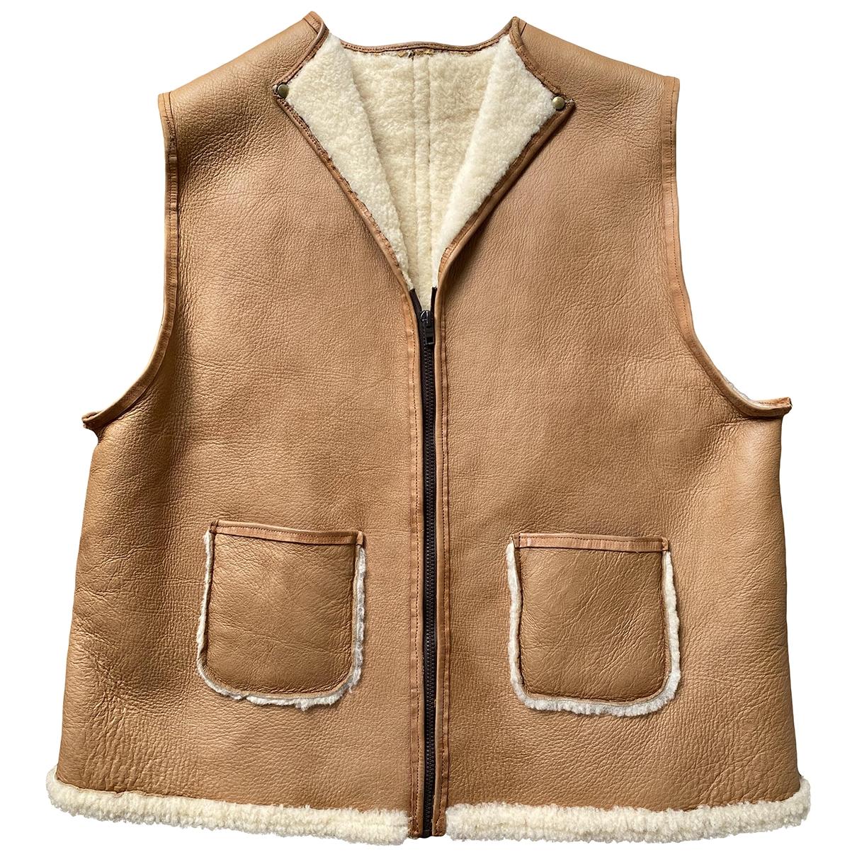 Non Signe / Unsigned \N Pullover.Westen.Sweatshirts  in  Beige Leder