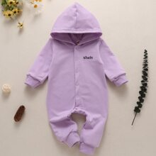 Baby Girl Letter Embroidery Hooded Jumpsuit