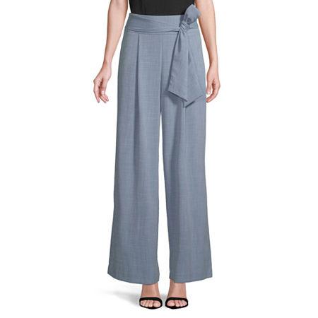 Worthington Regular Fit Wide Leg Trouser, 6 Petite , Blue
