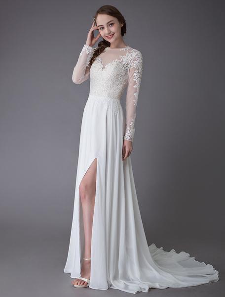 Milanoo Wedding Dresses Long Sleeve Lace Chiffon Sexy High Split Illusion Summer Bridal Gowns