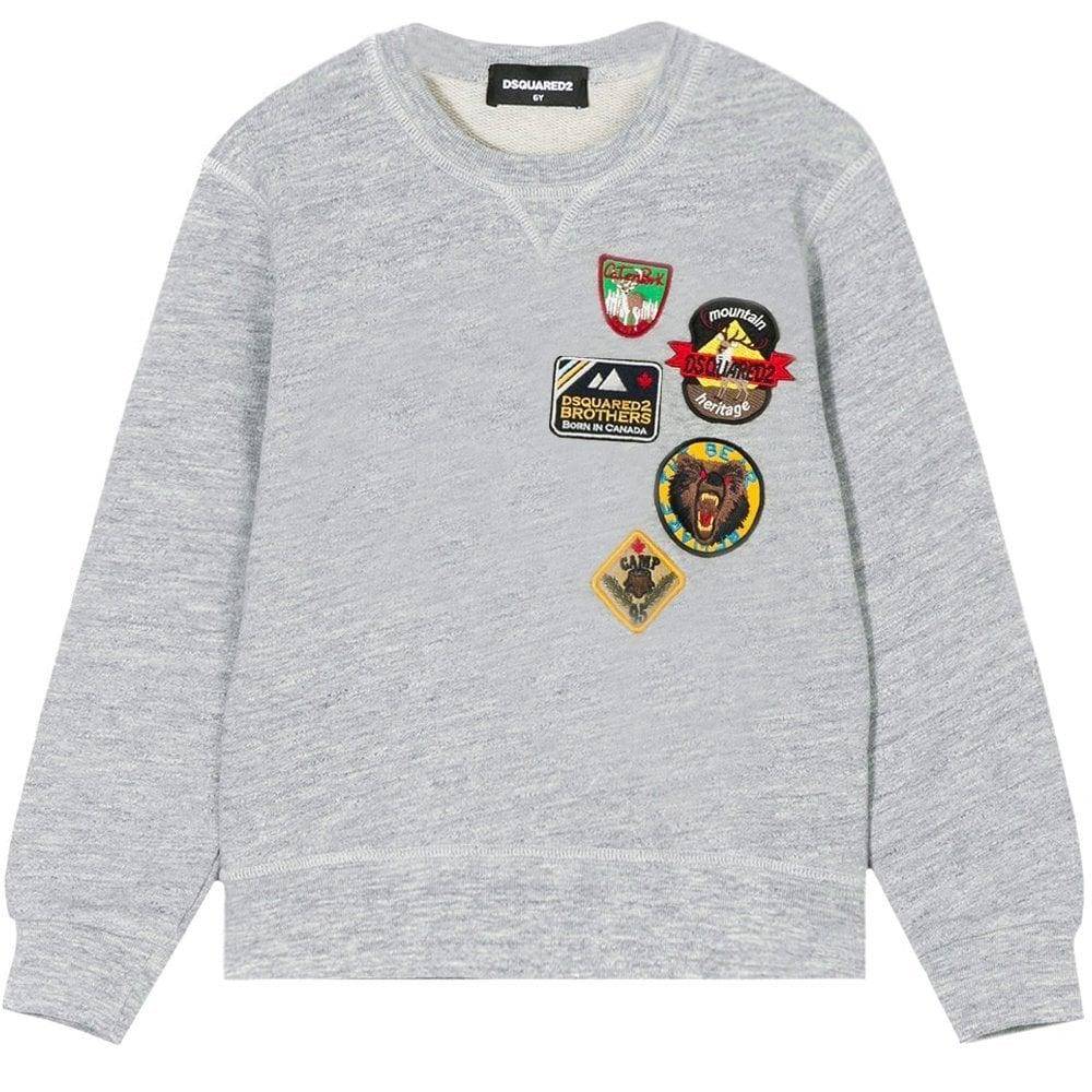 Dsquared2 Kids Badge Sweatshirt Grey  Colour: GREY, Size: 6 YEARS