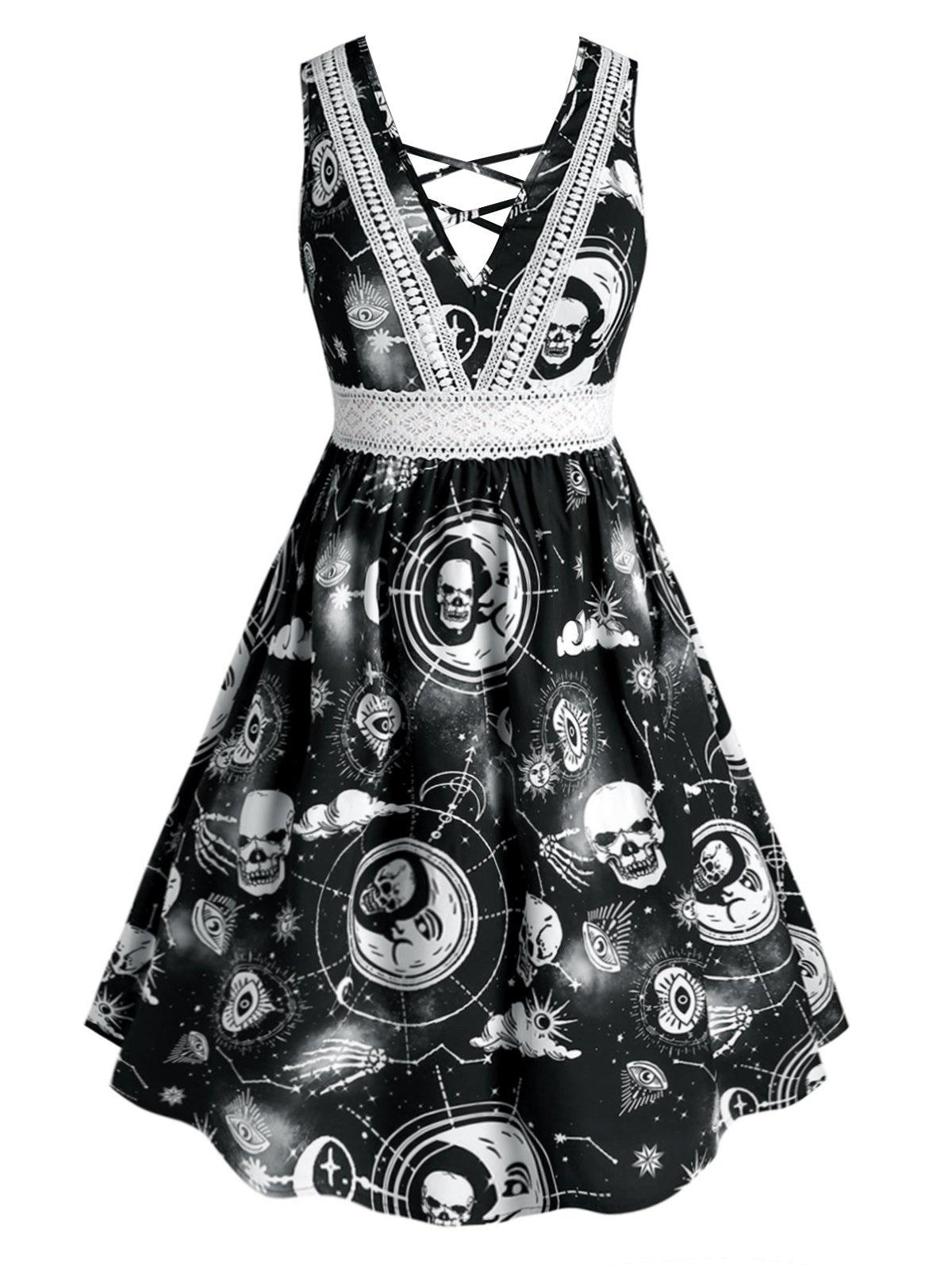 Plus Size Halloween Crisscross Printed Dress