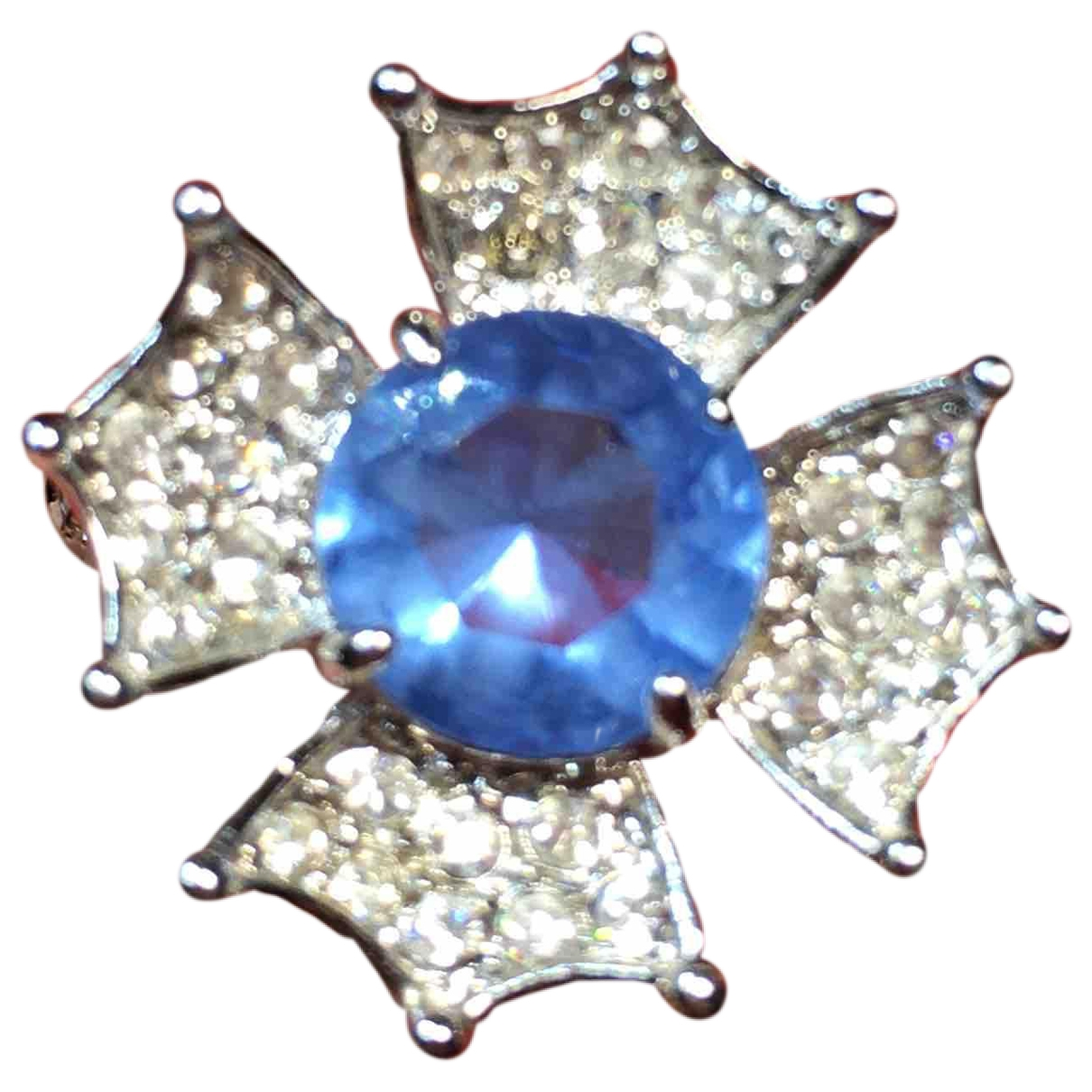 Non Signé / Unsigned Motifs Floraux Blue Steel ring for Women \N