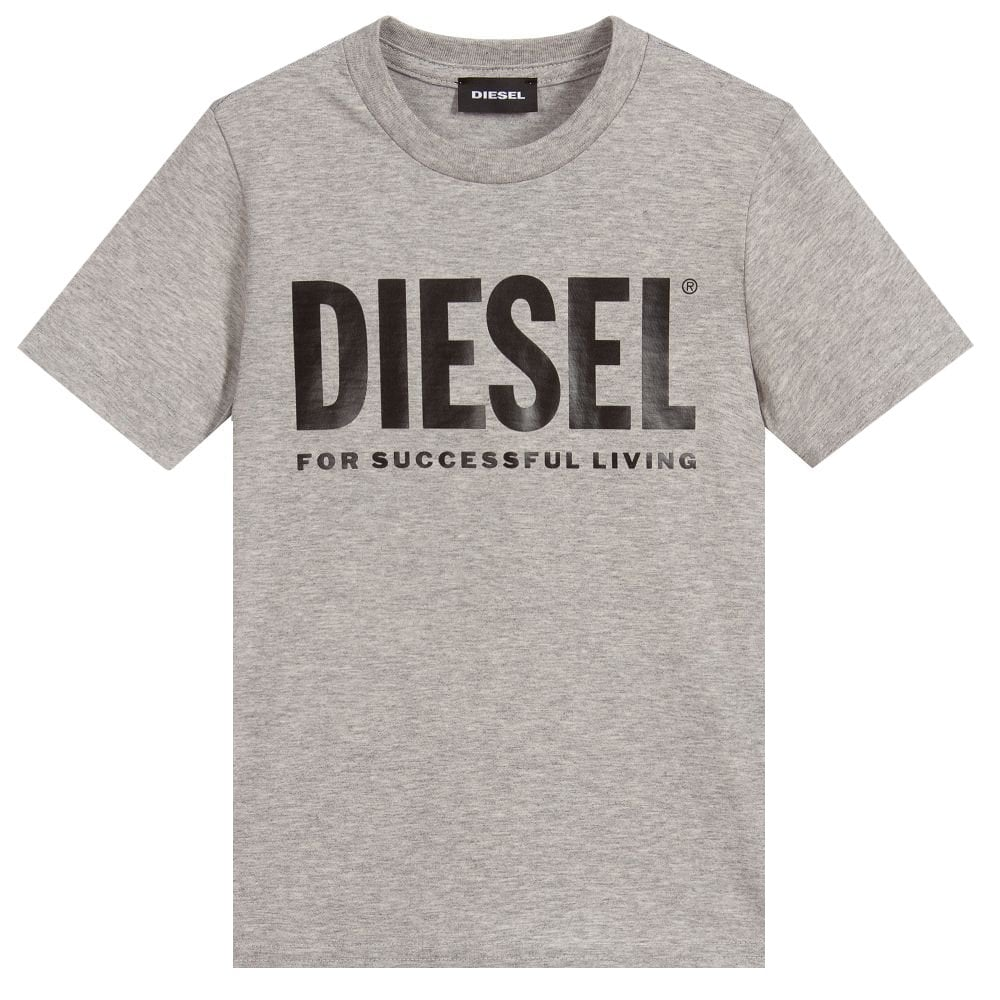 Diesel Grey Cotton T-shirt Colour: GREY, Size: 14 YEARS