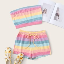 Plus Rainbow Striped Tube Top & Tie Front Shorts
