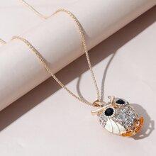 Halskette mit Strass und Eule Dekor