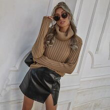 Solid Ribbed Knit Turtleneck Sweater