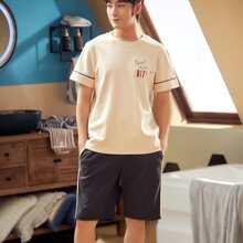 Maenner T-Shirt mit Buchstaben Grafik und Shorts PJ Set