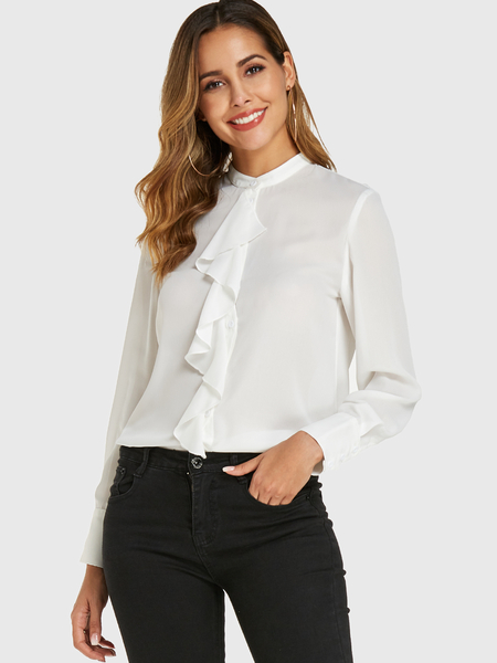 YOINS White Stand Collar Button Design Long Sleeves Blouse
