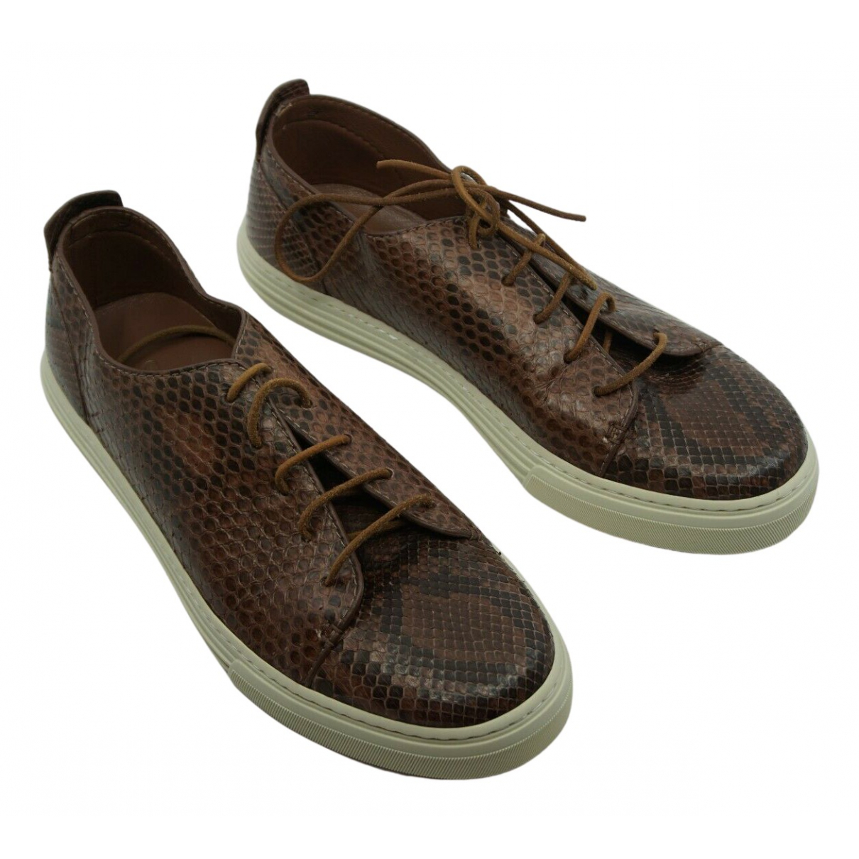 Gucci N Brown Python Trainers for Men 7 UK