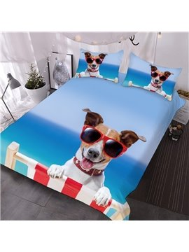 Dog With Red Rimmed Sunglasses On The Beach Printed 3-Piece Comforter Sets