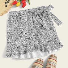 Plus Dalmatian Print Knot Side Wrap Skirt