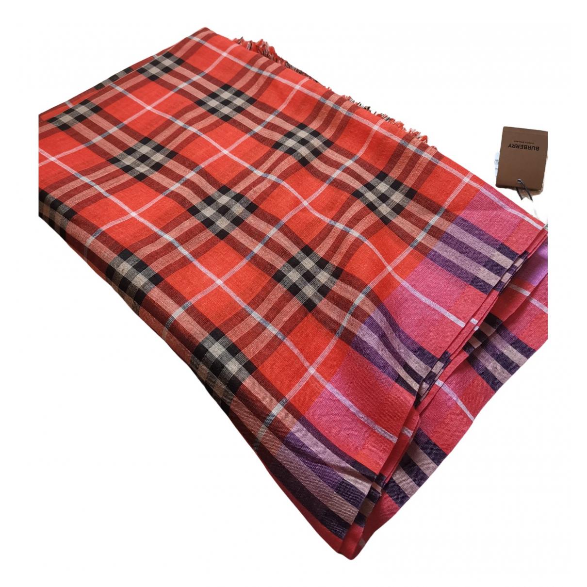 Burberry - Foulard   pour femme en soie - rouge