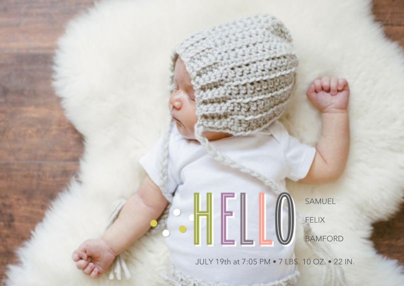Newborn 5x7 Cards, Premium Cardstock 120lb with Scalloped Corners, Card & Stationery -Sweet Hello Announcement