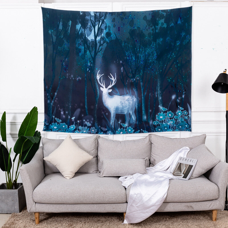 INS Style Sika Deer Spirit Animal Pattern Wall Hanging Tapestries Home Living Room Art Decor