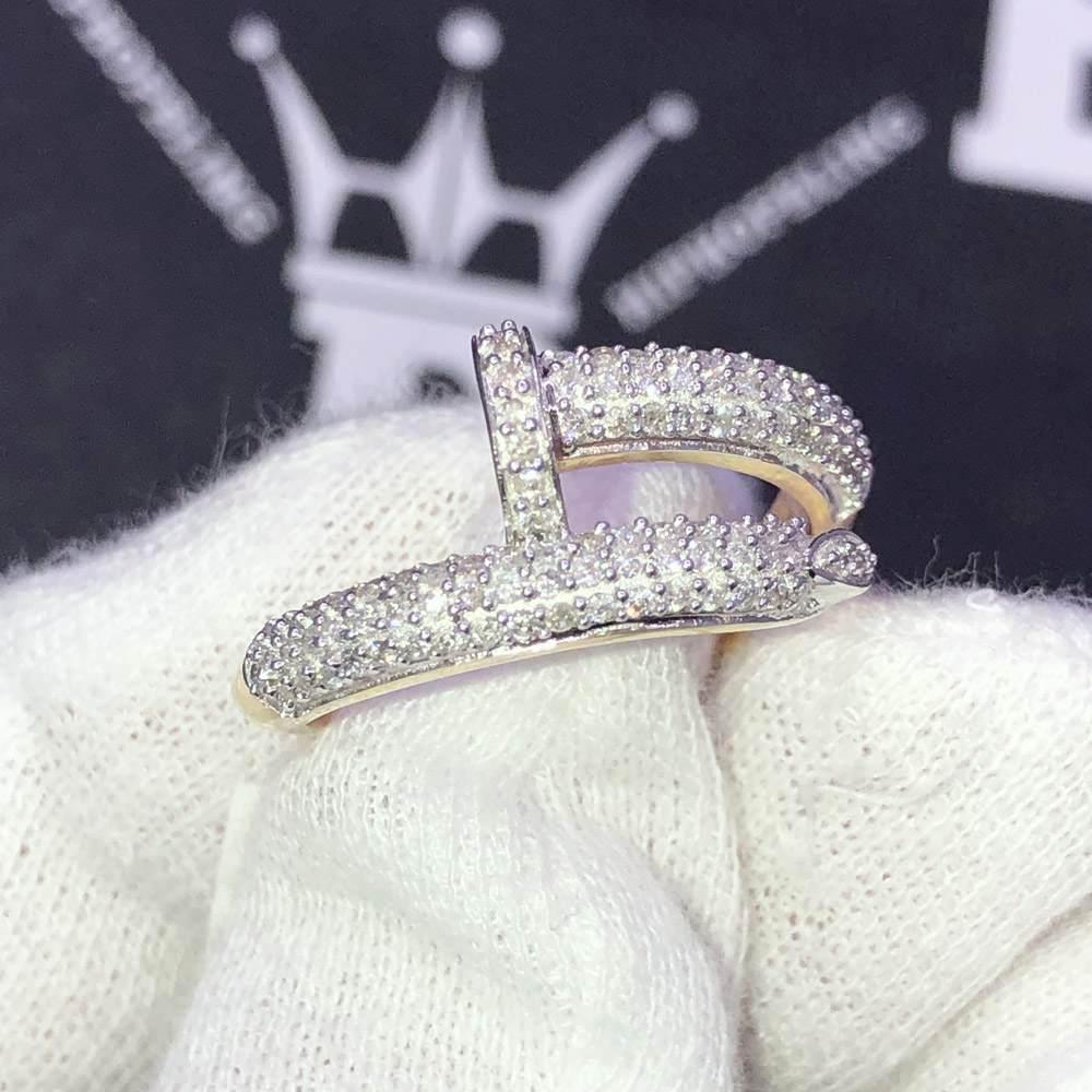 Nail Ring .68cttw Diamond 10K Yellow Gold Ring