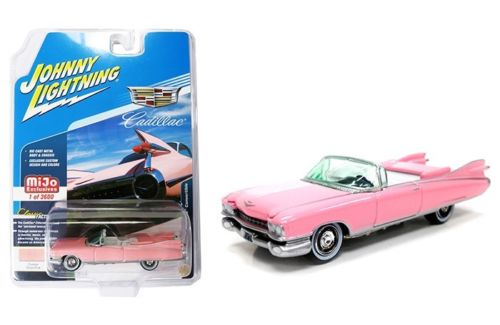 1959 Cadillac Eldorado Convertible Pink Limited Edition to 3600 pieces Worldwide 1/64 Diecast Model Car by Johnny Lightning