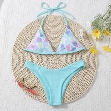 Ice Cream Print Triangle Halter Bikini Swimsuit