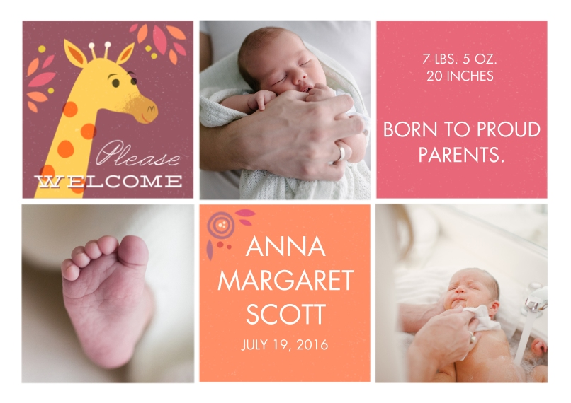 Adoption Announcements 5x7 Cards, Premium Cardstock 120lb, Card & Stationery -Happy Giraffe Pink & Coral