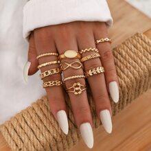 12 piezas anillo con diseño geometrico
