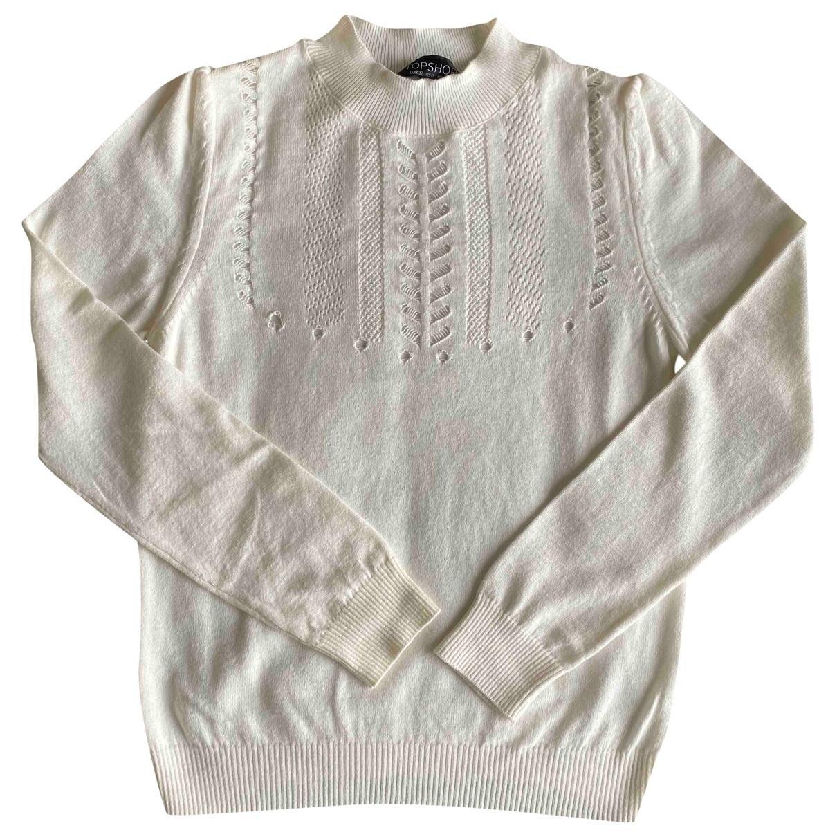 Topshop - Pull   pour femme en coton - ecru