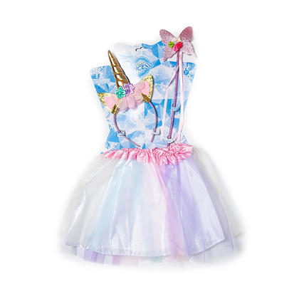 Girls Tutu Skirt with Headband and Wand Party Unicorn Costumes Set, Candy Color - LIVINGbasics™