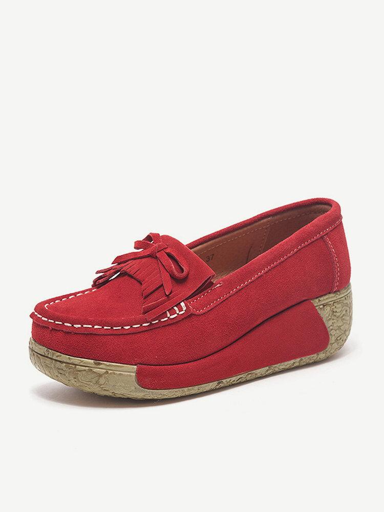 Tassel Platform Suede Stitching Casual Shoes