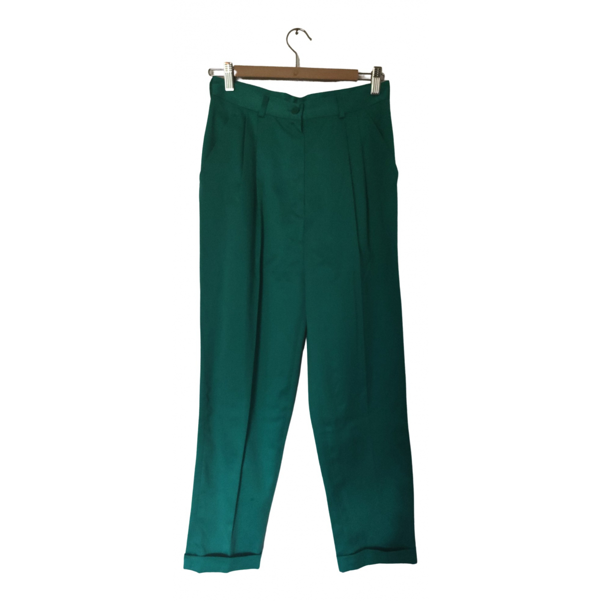 Non Signé / Unsigned \N Green Cotton Trousers for Women 42 IT