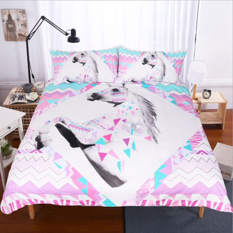 3D Unicorn and Geometric Pattern Printed Polyester 3-Piece Bedding Sets/Duvet Covers