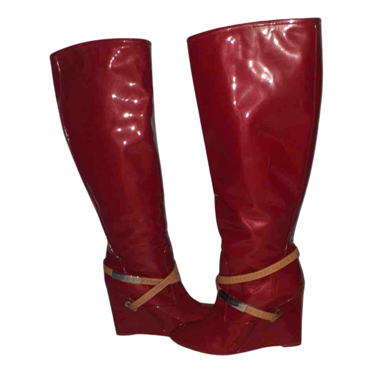 Louis Vuitton N Red Leather Boots for Women 38 IT