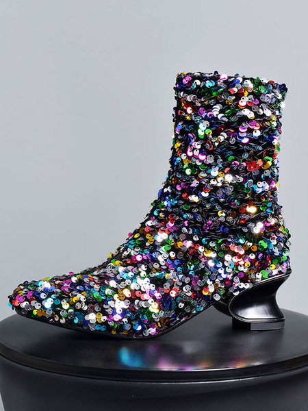 Milanoo Women Ankle Boots Black Sequined Cloth Square Toe Special-Shaped Heel Booties