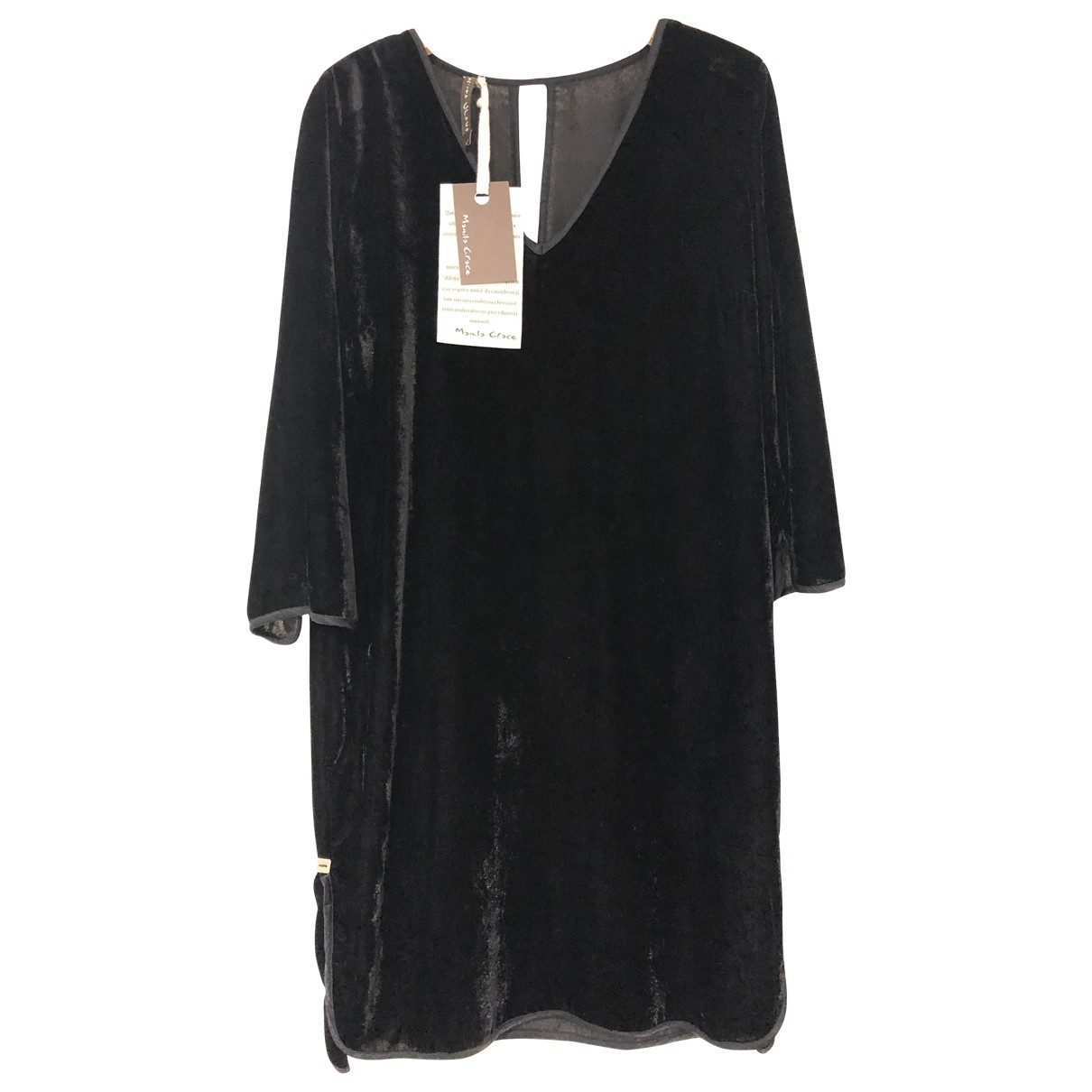 Non Signe / Unsigned Oversize Kleid in  Schwarz Samt