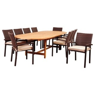 Amazonia Teak 11-piece Extendable Patio Dining Set with Cushions (Natural Wood - 11-Piece Sets)