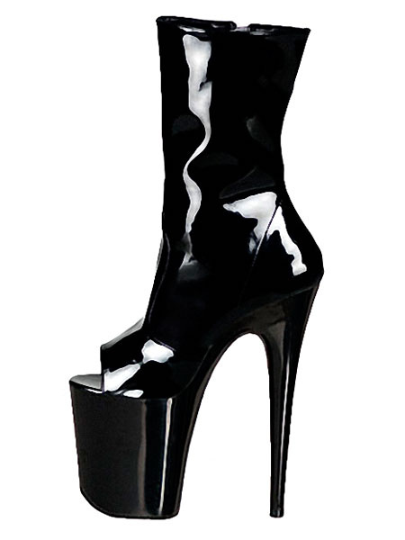 Milanoo High Heel Booties Women Sexy Boots Black Platform Peep Toe Stiletto Heel Boots