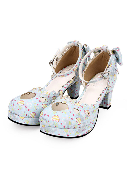 Milanoo Sweet Lolita Pumps Sweetheart Cut Out Print Correa de tobillo Chunky Heel Lolita Zapatos