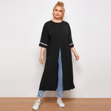 Plus Letter Tape Split Thigh Longline Tee
