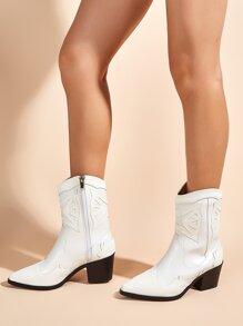 Point Toe Side Zipper Chunky Heeled Boots