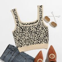 Strick Crop Top mit Leopard Muster