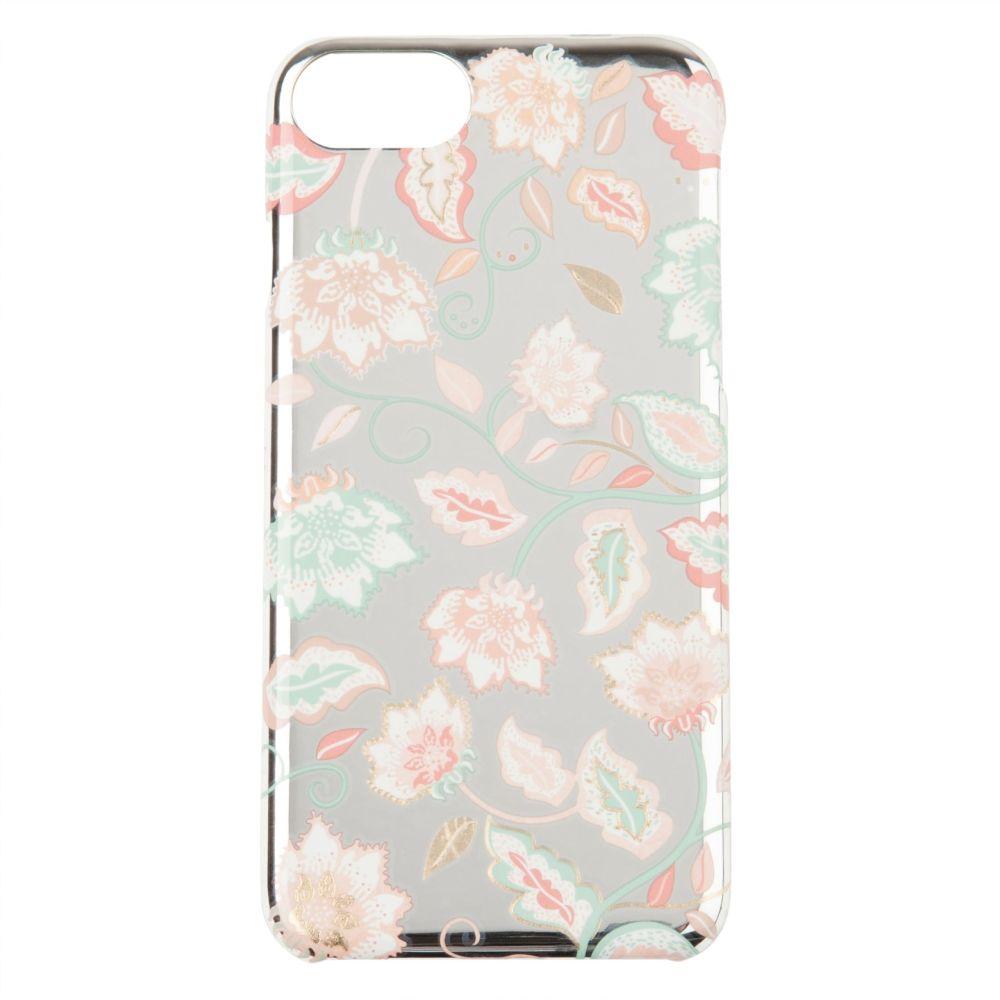 Silberfarbene Schutzschale fuer iPhone 6/7/8, bedruckt mit Blumenmuster
