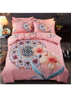 Pink Floral Chinoiserie Thickened and Sanded Reversible 4-Piece Polyester Classic Bedding Sets/Duvet Covers