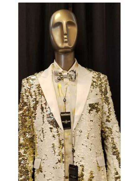 Mens Sequin Paisley Blazer Sport coat Tuxedo Jacket White ~ Gold
