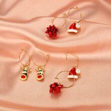 3pairs Christmas Snowflake Drop Earrings