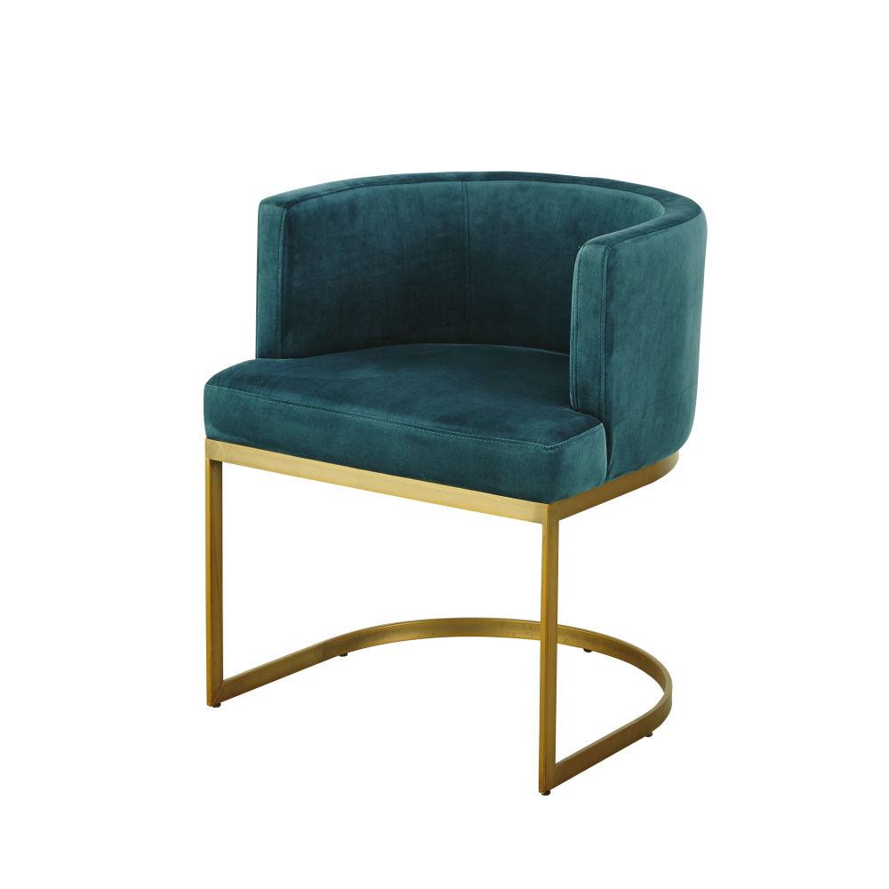 Vintage-Sessel mit Samtbezug, smaragdgruen Requiem