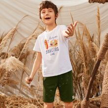 Boys Letter and Food Print Tee and Patched Detail Track Shorts Set