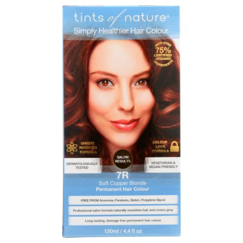 Permanent Hair Color 7R Soft Copper Blonde Permanent 4.4 Oz by Tints of Nature