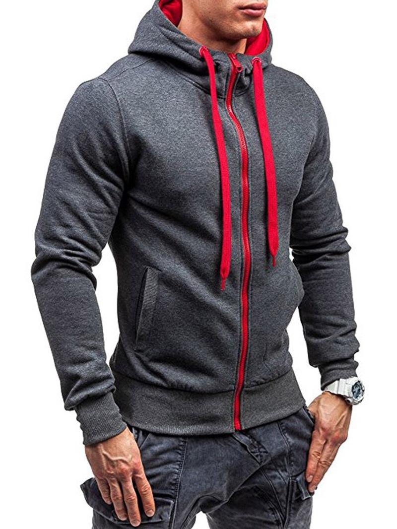 Ericdress Cardigan Zipper Men's Color Block Hoodies