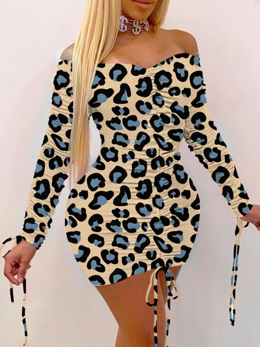 LW Lovely Casual Off The Shoulder Leopard Print Blue Mini Dress